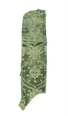 Lot 300 - A Bottle Green Velvet Panel Fragment, probably 17th century or earlier, depicting flowering plants