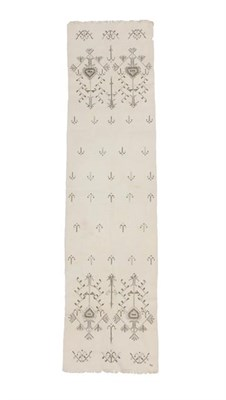 Lot 303 - An Ottoman Towel, late 19th/early 20th century, the plain linen ground of stylised geometric plants