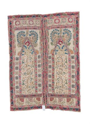 Lot 308 - A Greek Island Embroidered Prayer Panel, 18th century, worked in various stitches, comprised of...