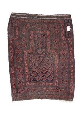 Lot 319 - Baluch Prayer Rug West Afghanistan, circa 1880 The midnight blue field of stylised plants...