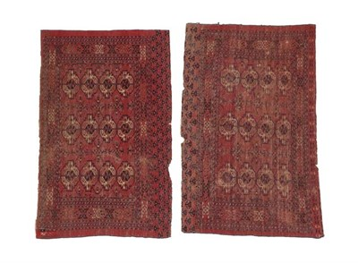 Lot 328 - Pair of Kizil Ayak Chuvals West Turkestan, circa 1890 Each with madder field with four rows of...