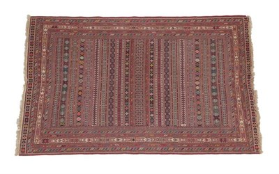 Lot 334 - Good ''Afshar'' Soumakh Probably South East Iran, modern The field with polychrome bands of...