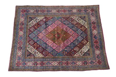 Lot 340 - Yazd Carpet  South East Iran, circa 1930 The polychrome lattice field centred by a diamond...