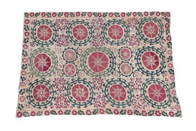Lot 344 - Bukhara/Shakresabh Susani, late 19th century Woven on a linen ground and joined, the ivory field of