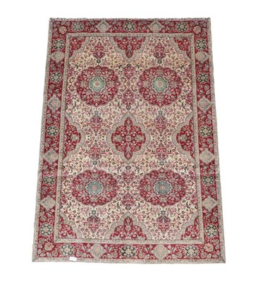 Lot 345 - Pair of Tabriz Carpets North West Iran, modern Each with an ivory field and large crimson...