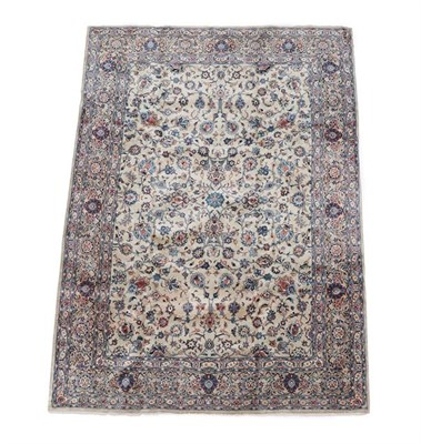Lot 346 - Kashan Carpet Central Iran circa 1960 The ivory field with an allover design of scrolling vines and