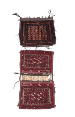 Lot 372 - A Turkmen Khorgeen, each face with four stepped güls enclosed by multiple narrow borders, 105cm by
