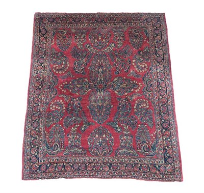 Lot 373 - Saroukh Carpet West Iran, circa 1930 The strawberry field centred by a floral cruciform...