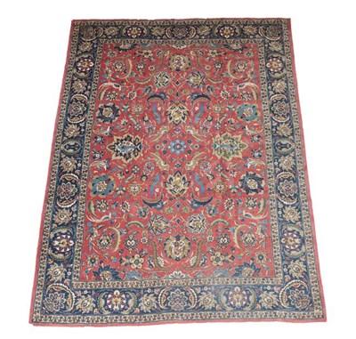 Lot 382 - Tabriz Carpet Iranian Azerbaijan, circa 1940 The deep terracotta field of vines and birds...
