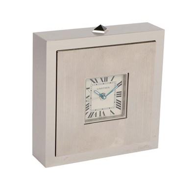 Lot 389 - An Art Deco Style Alarm Travelling Timepiece, signed Cartier, circa 2005, quartz movement,...