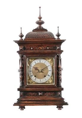 Lot 391 - An Oak Quarter Striking Bracket Clock, circa 1890, caddied pediment with turned wooden finials,...