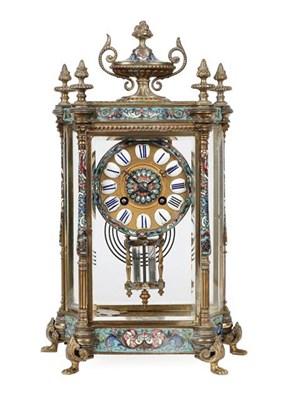 Lot 392 - A Four Glass Champleve Enamel Striking Mantel Clock, circa 1890, multi coloured champleve...