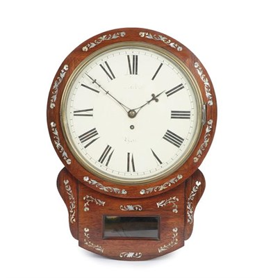 Lot 393 - A Rosewood and Mother of Pearl Inlaid Drop Dial Wall Timepiece, mid-19th century, side and...