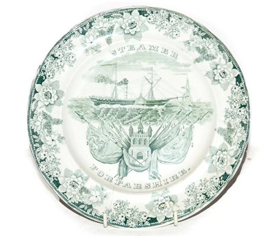 Lot 1 - A Brameld plate commissioned by the Dundee & Hull Steam Packet Company, printed in sage green...