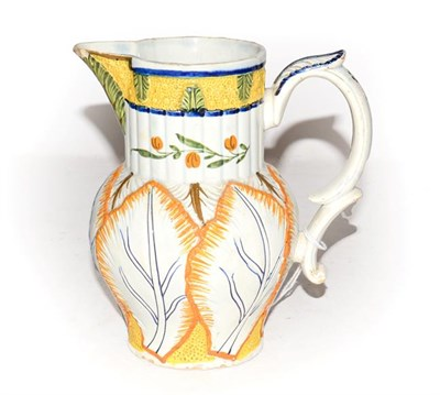 Lot 5 - A Hawley pearlware jug, with reeded collar moulded with leaves and further moulded to the...
