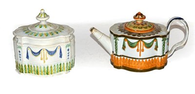 Lot 7 - A Hawley pearlware teapot moulded with linen swags and stiff leaves c.1800-15, together with a...