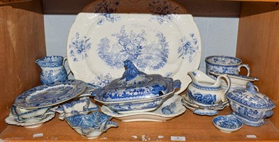 Lot 8 - A quantity of early 19th century English blue and white pottery including a Brameld meat dish,...