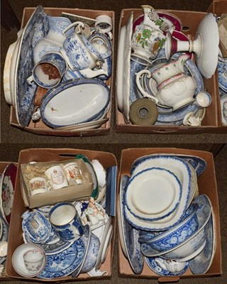 Lot 11 - Four boxes of early 19th century pottery, mostly Yorkshire printed in underglaze blue,...