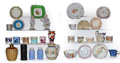 Lot 12 - Two trays of mixed ceramics including early 19th century English porcelain coffee cans, Meissen...