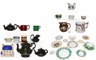 Lot 15 - A quantity of 18th century and later English pottery and porcelain including a Staffordshire...