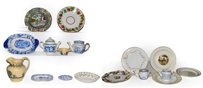 Lot 16 - A quantity of Rockingham, Don pottery and Brameld etc, to include Brameld creamware plate...