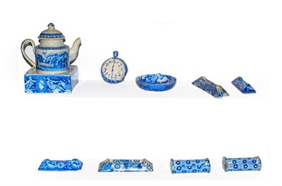 Lot 19 - A quantity of early 19th century English blue and white pottery including a child's pearlware...