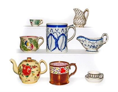 Lot 30 - A tray of 18th century and later English pottery, including a pearlware tankard and sauce boat,...