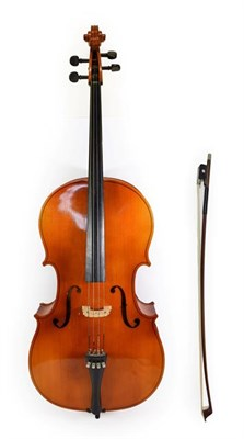 Lot 3003 - Cello 29 1/2'' two piece back, ebony fittings, no label, with bow stamped 'Erich Steiner' (2)