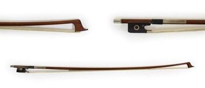 Lot 3010 - Viola Bow silver mounted stamped 'Garner Wilson' octagonal stick, ebony frog, length excluding...