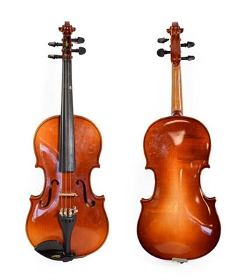 Lot 3011 - Violin 12 1/2'' two piece back, labelled 'Tatra By Rosetti'