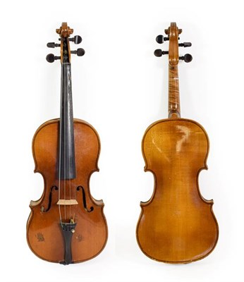 Lot 3012 - Violin 13 1/4'' one piece back, student quality, has number T2349 felt tipped inside
