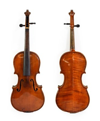 Lot 3013 - Violin 13 1/4'' two piece back, double purfling to front and back, labelled 'Giovan Paolo...