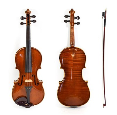 Lot 3014 - Violin 13 1/4'' two piece back, no label, with bow and set on inlayed pegs (cased)