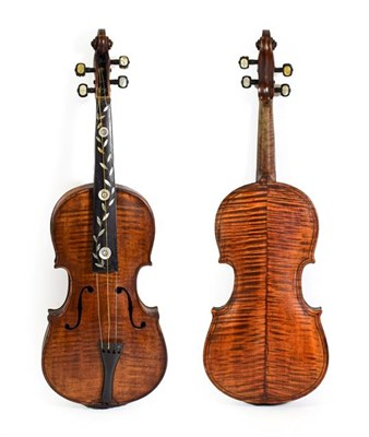Lot 3015 - Violin 14 1/4'' two piece back, decorative inlay to fingerboard and pegs, appears to be marked...