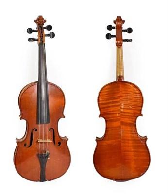 Lot 3016 - Violin 14 1/4'' two piece back, ebony fitting, no label