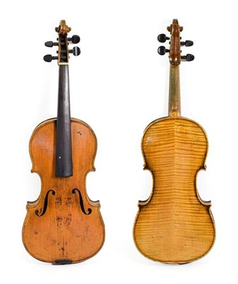 Lot 3017 - Violin 14 1/4'' two piece back, no label, has some repairs to scroll cheeks (cased)