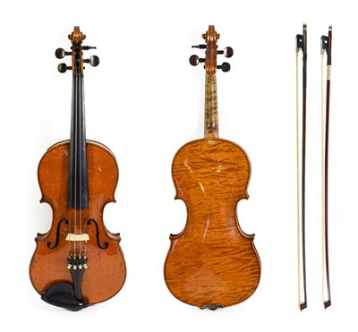 Lot 3019 - Violin 14'' one piece back, ebony fingerboard, no label, with two bows (cased)