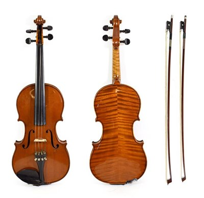 Lot 3021 - Violin 14'' two piece back, ebony fingerboard and fittings, with label 'Ludwig Glasel No.117...