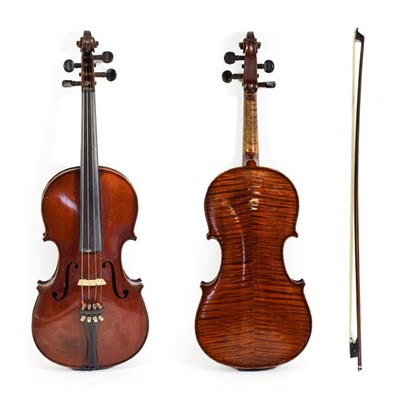 Lot 3023 - Violin 14'' two piece back, ebony fingerboard, labelled 'Barrel d'apres A Stradivarius' with bow in