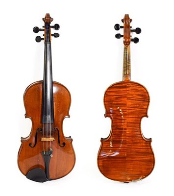 Lot 3026 - Violin 14'' two piece back, ebony fittings, labelled 'Manufactured in Berlin special copy of...