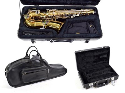 Lot 3028A - Saxophone Eb Alto 'The Buescher Elkhard Ind.' lacquered body with silver coloured keys, serial...