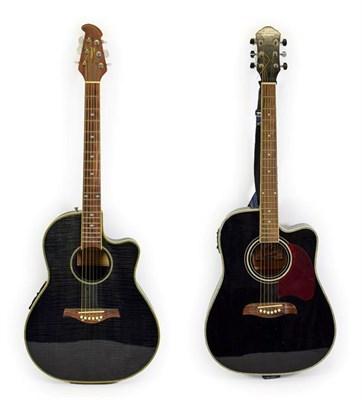 Lot 3032 - Two Electro-Acoustic Guitars (i) Tanglewood TMO 7NC bowl back with EMC Electronics FSE-3...