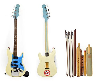 Lot 3032A - Bass Guitar with headstock badge 'Marquee Bass' cream body and blue pearloid scratchplate, one pick