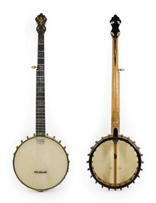 Lot 3038 - George Washburn Five String Banjo 10 1/2'' head, 22 frets, 22 lugs, open back, dowel stick...