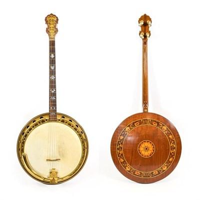 Lot 3040 - Wm L Lange Artist Professional Super Paramount Four String Banjo 11'' head, 19 frets, 24 lugs,...