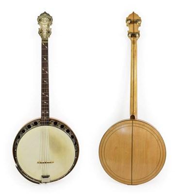 Lot 3041 - Wm L Lange Paramount Style A Four String Banjo 11'' head, 19 frets, 24 lugs, quick release...