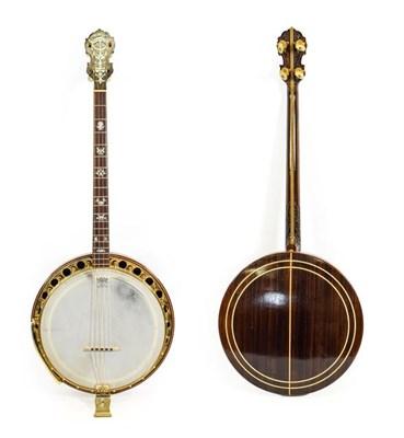 Lot 3042 - Wm L Lange Paramount Style F Four String Banjo 11'' head, 19 frets, 24 lugs, quick release...