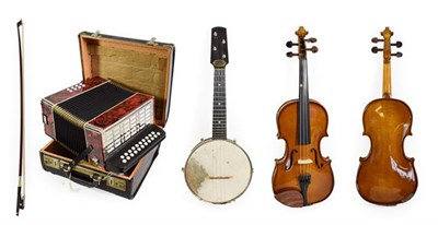 Lot 3043 - Banjolele 7 1/2'' head, seventeen frets, metal resonator with six lugs, with plaque 'Down South...