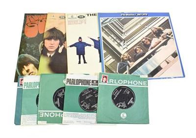 Lot 3049 - Beatles Vinyl Records LPs: Rubber Soul, For Sale, Help! and The Blue Album; Singles: Paperback...