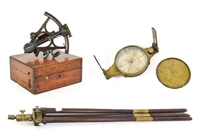 Lot 3072 - J B Underhill Surveyors Compass 4 1/2'' diameter on tripod; together with a Langford Sextant...